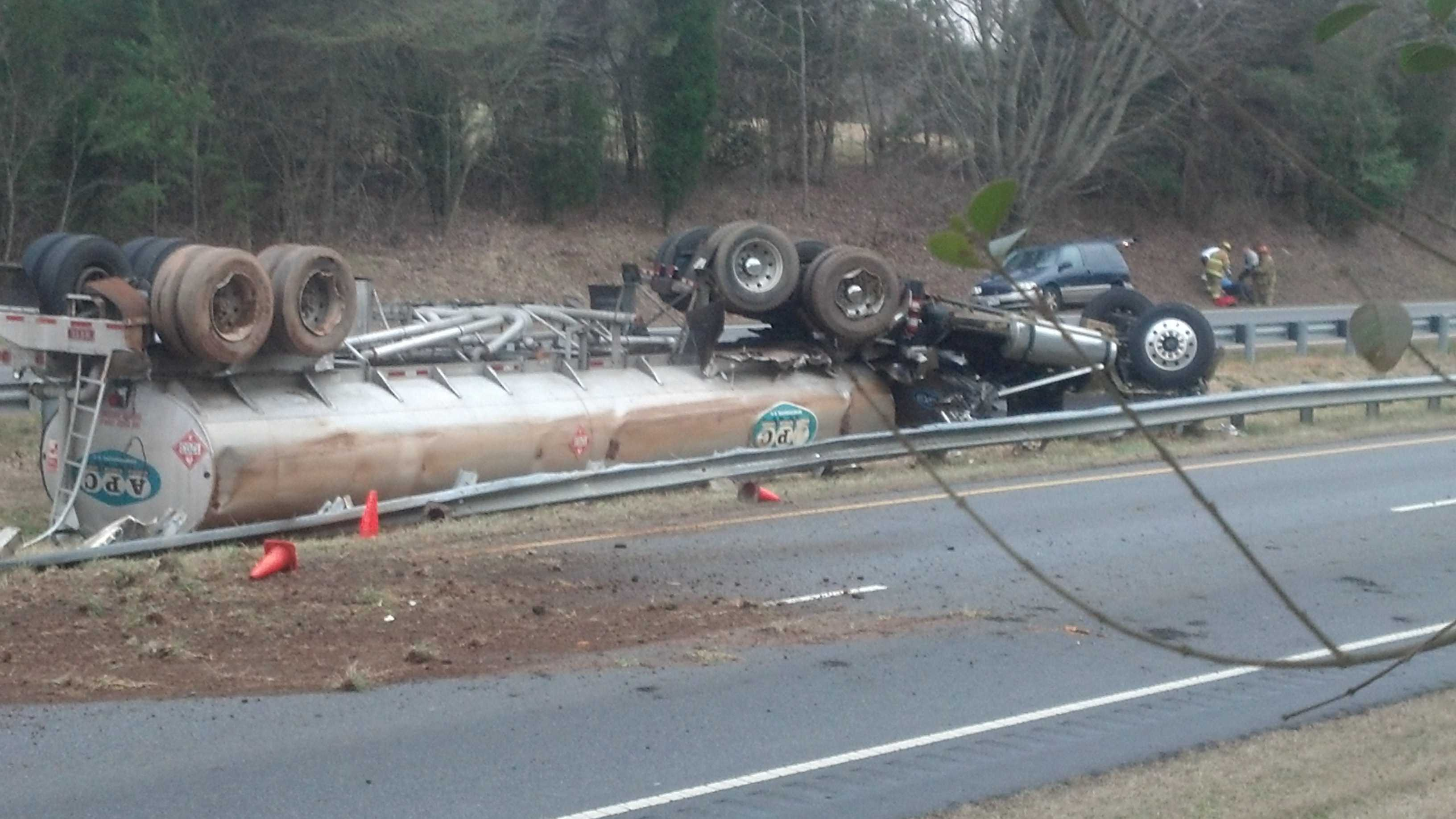 Tanker truck crashes on U.S. 421