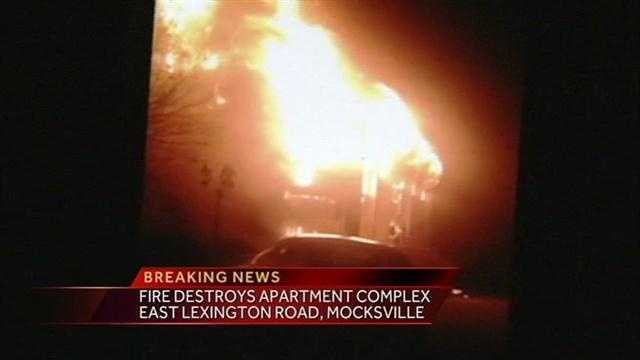 An apartment complex in Mocksville was destroyed in a fire overnight.