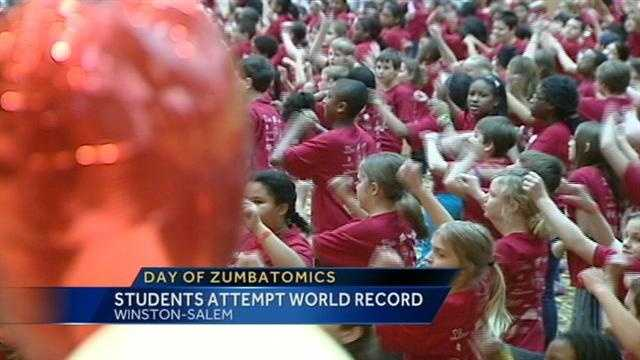 More than 1,000 Winston-Salem/Forsyth County students took part in an attempt to break a world Zumbatomics record. Mayor Allen Joines also took part.
