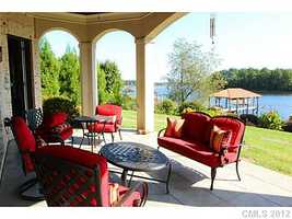 Covered Patio with lake views
