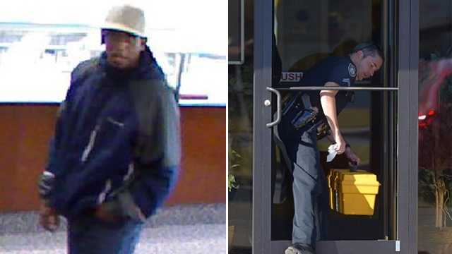 Left: Surveillance image of suspect. (Burlington police) Right: Police investigating broken door. (Courtesy Times-News)