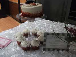 The cake and cupcakes can be served at wedding parties like the wedding shower, bachelorette party and even for the wedding cake and for guests at the reception. Their will be more tiers for the cupcakes at the reception. (E'MAGINE WEDDINGS AND EVENTS)