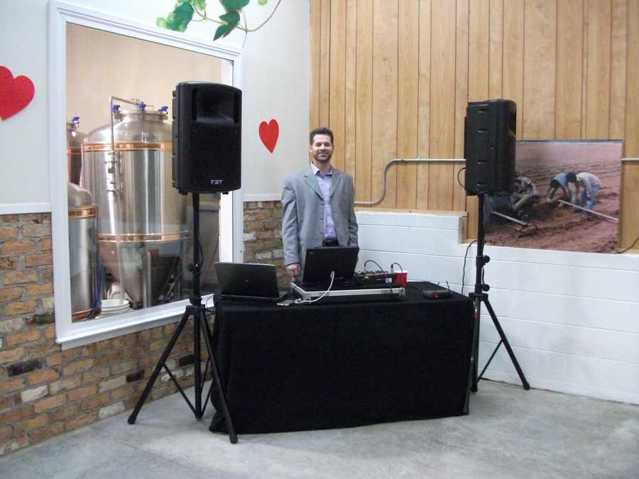 """Jason Barnes, Disc Jockey was rocking it out and several people enjoyed the """"Electric Slide"""" and """"The Wobble"""" at the Valentine's Day fun. Check the fun events going on at wineries before touring the ones you want to visit. (Westbend Vineyards and Brewhouse)"""