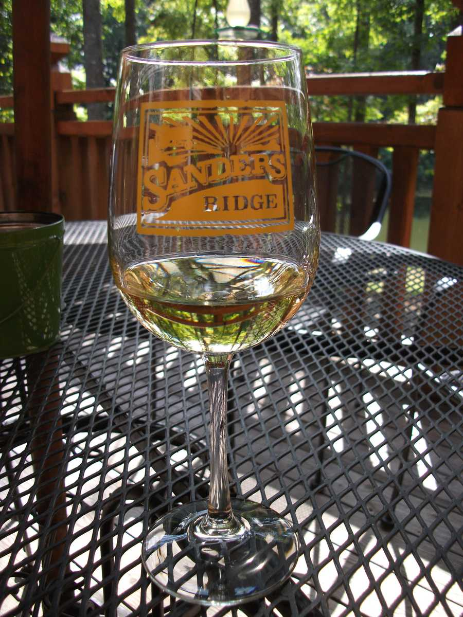 Sanders Ridge Vineyard has tours and groups get to keep the glasses. If the ladies or men want to try their hand at Ziplining then they also have their own ziplines.