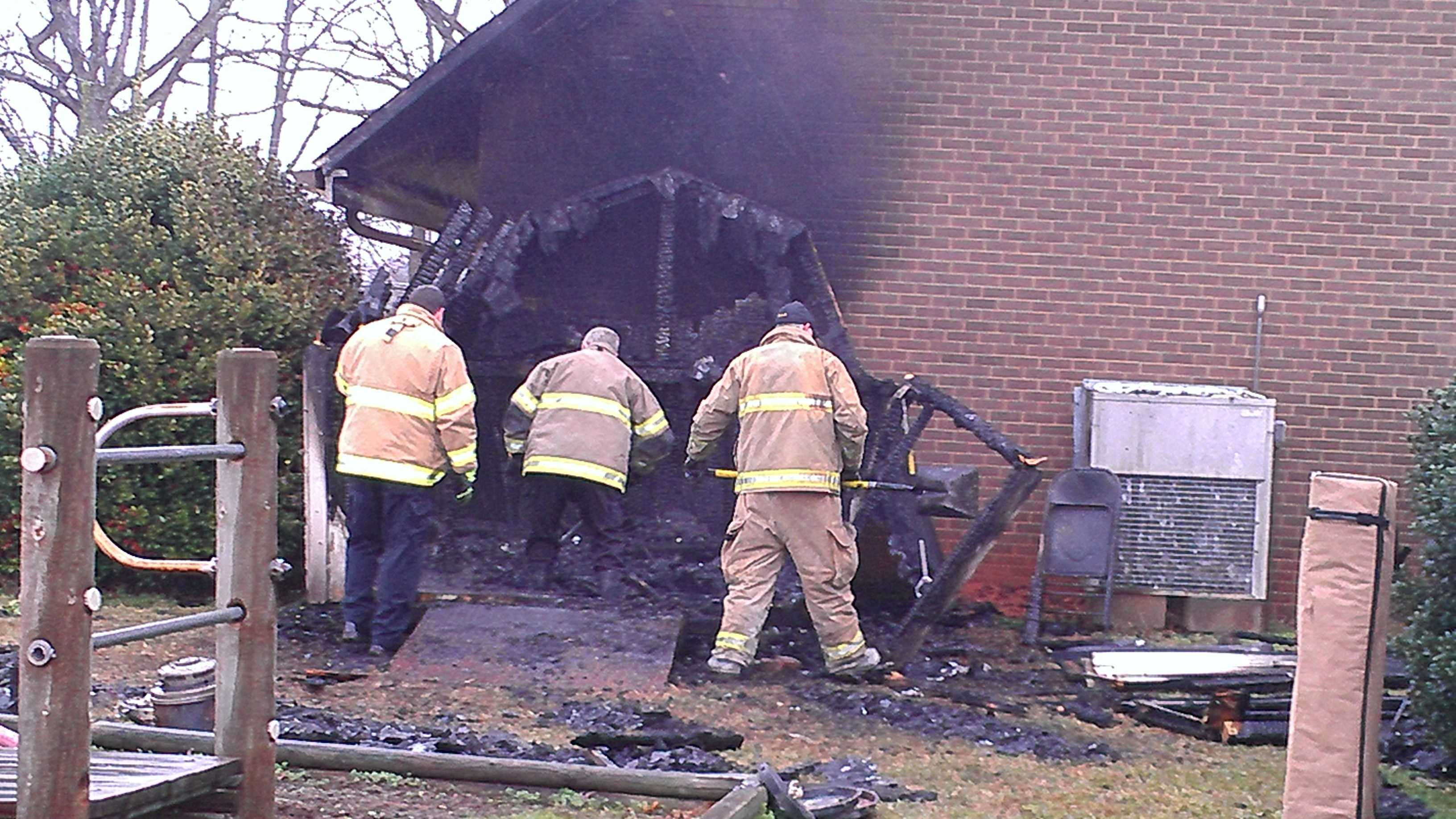 Crews are investigating Wednesday morning's fire at Bethany United Methodist Church. (Photo by WXII's Doug Miller)