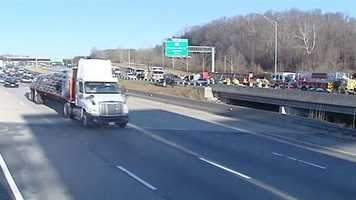 Interstate 40 west was shut down for hours Thursday following a crash involving about 10 vehicles, including a tractor-trailer.
