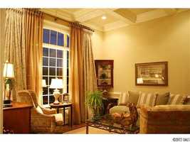 Living Room with coffered ceiling