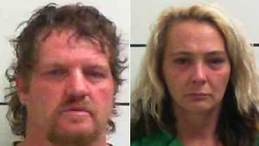 Donald Beck, left, and Angela Beck, right, in January booking photos (Surry County Jail)