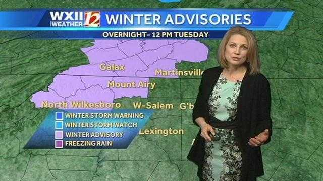 There is a chance for wintry weather in parts of the viewing area Tuesday, along with heavy rain and storms. |Free Email Alerts|Watch Michelle's forecast