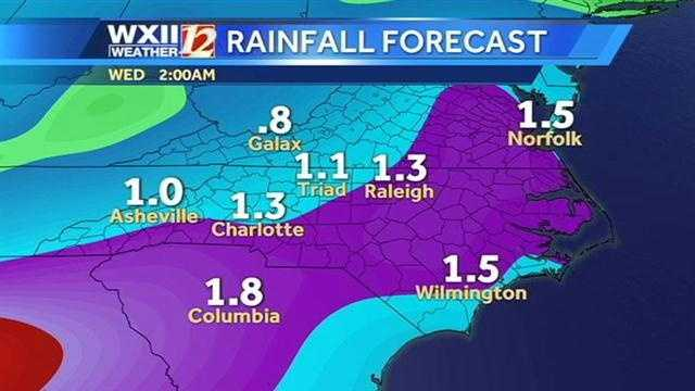 Rainfall forecast throughout the area.