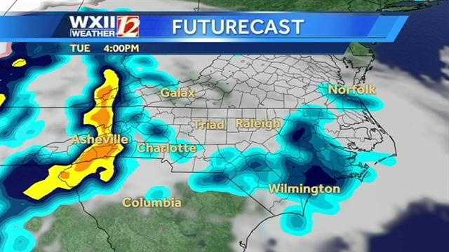 Let's check the futurecast at hourly intervals from Tuesday afternoon into Wednesday morning.