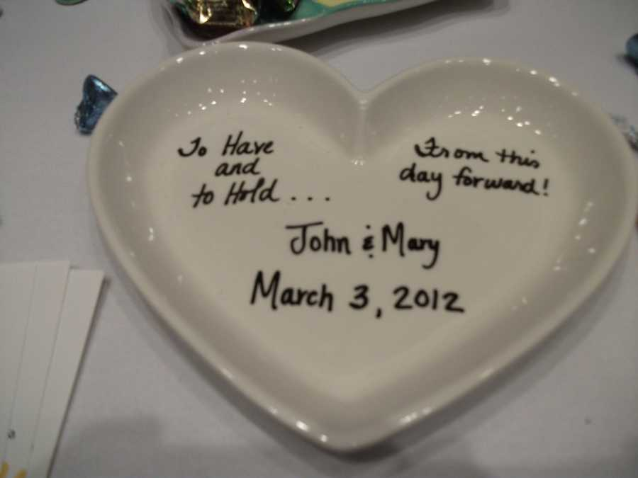 The Potter's Mark is a great place for someone to make a special gift like this one for the couple to remember. The couple could also make something special for their mothers, maid of honor and best man or the entire wedding party gifts.
