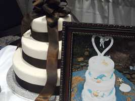 The Cake Lady had some very nice simple cakes to very elaborate for couples to look at and decide what style they may want for their reception.