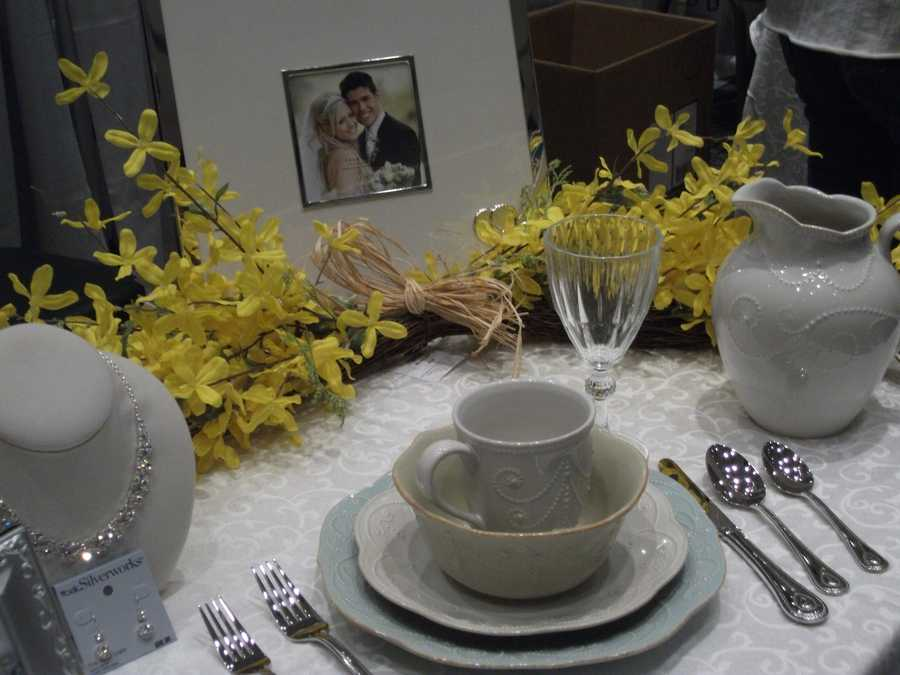 Belks of Wilkesboro has this great photo frame for the couple and dining sets. Neat milk pitcher. (Geneva_Shumate@Belk.com)
