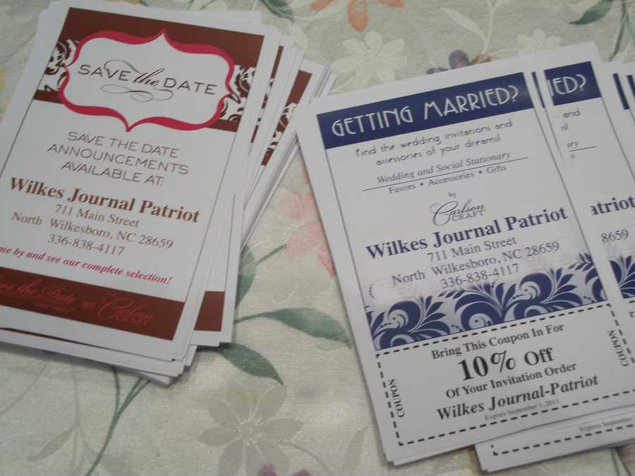 The Journal Patriot gave out contact cards with discounts to help couples get started. Click here : The Journal Patriot then contact (caroline@journalpatriot.com)