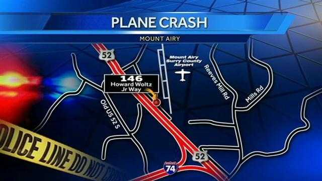 A small plane crashed Thursday night at the Mount Airy-Surry County Airport.