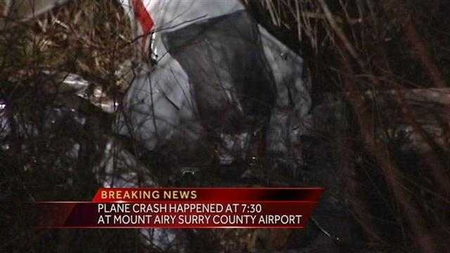 Sheriff Graham Atkinson told WXII the crash happened on the north end of the runway. The Mount Airy News said the plane crashed off the side of the runway in tall grass in a ravine.