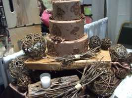 Kathy's Kreations Bakery & Confectionary Gift Shop really shows you how to decorate the cake as well as the table at the reception for a natural or even country/western themed wedding. Email: murphy@skybest.com.