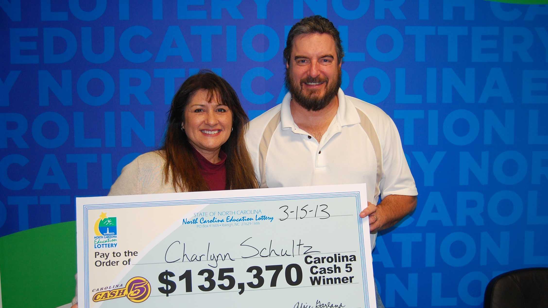 Charlynn and Jim Schultz (photo from North Carolina Education Lottery)
