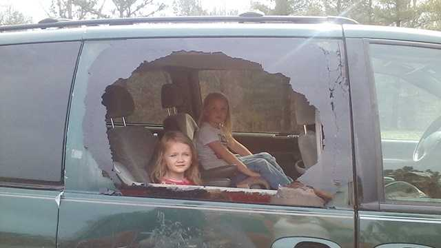 The family's children were in the minivan when the projectile went through the window. (Courtesy Margaret Johnson/WXII)