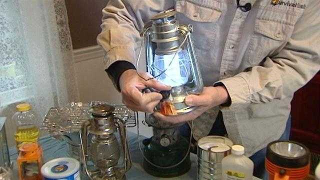 Lantern tea lights, oil lamps and even a can of Crisco with a wick made of a denim pant cuff can provide light and some heat.