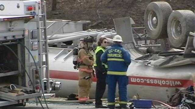 Business 85 was closed in both directions after a fuel tanker truck overturned in the median Wednesday morning.