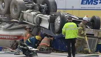 The crash happened just before 11 a.m. near the exit to Vickery Chapel Road and Guilford College Road.