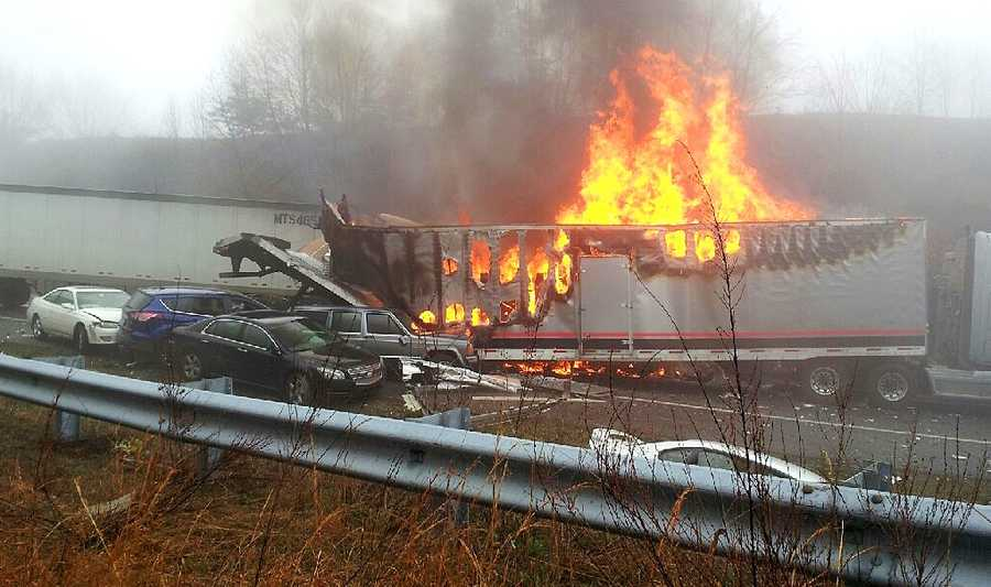 Fire was seen in a section of a 96-vehicle pileup on Interstate 77 in Carroll County. The pileup involved 17 different crashes. (Courtesy Jennifer Gonzalez)