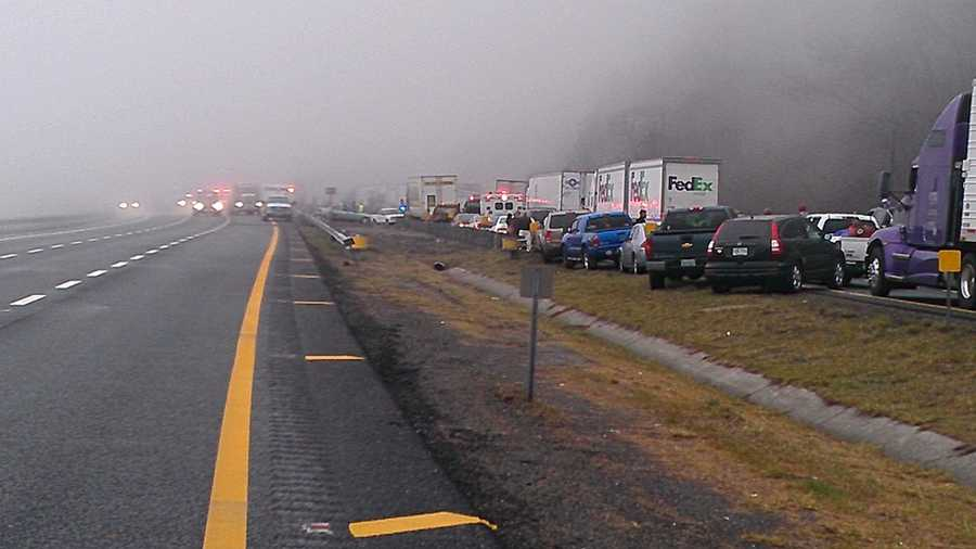 The 96-vehicle pileup happened in the southbound lanes of Interstate 77, but officials shut down the northbound lanes for hours as well. (William Bottomley/WXII)Sign up for updates and top news headlines email newsletters here.