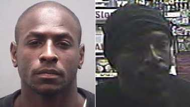 Terrance Rhodes, left, and surveillance image, right (Burlington police)
