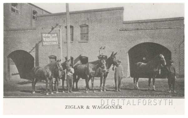 Ziglar & Waggoner Sale and Feed Stable, located at 527-529 North Cherry Street, 1918.Courtesy of Forsyth County Public Library Photograph Collection.