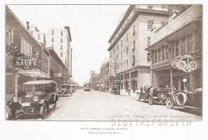 North Main Street looking north from 200 block. Cars and streetcar shown in photo. Zinzendorf Hotel at right.Courtesy of Forsyth County Public Library Photograph Collection.
