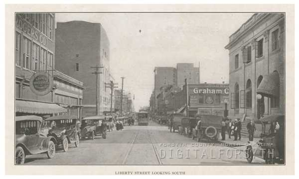 North Liberty Street looking south towards West Fifth Street, 1918.Courtesy of Forsyth County Public Library Photograph Collection.