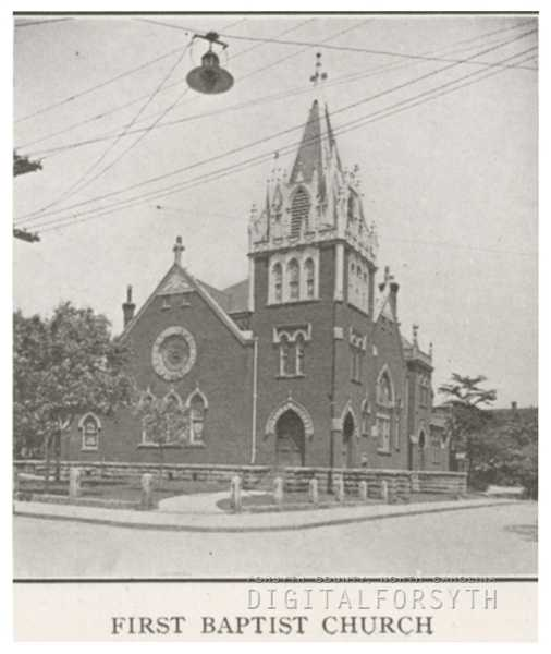 The First Baptist Church, located at 103 E. Second Street, 1918.Courtesy of Forsyth County Public Library Photograph Collection.