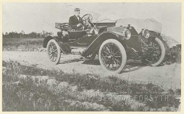S. Clay Ripple in his 1913 Buick.Courtesy of Forsyth County Public Library Photograph Collection.