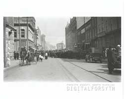 West Fourth Street looking east towards North Liberty Street, 1913. There was a fire in the O'Hanlon Building.Courtesy of Forsyth County Public Library Photograph Collection.