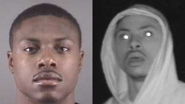 Juwon Lamar Goolsby, left, and surveillance image, right (Winston-Salem police)