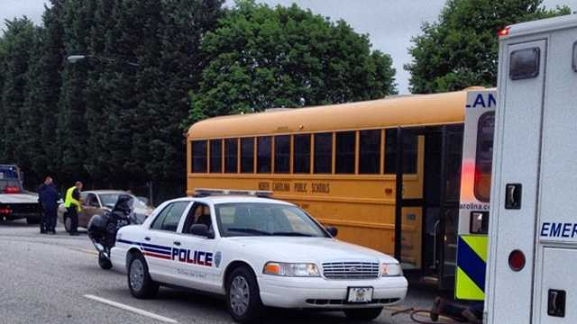 Car, school bus collide in Winston-Salem
