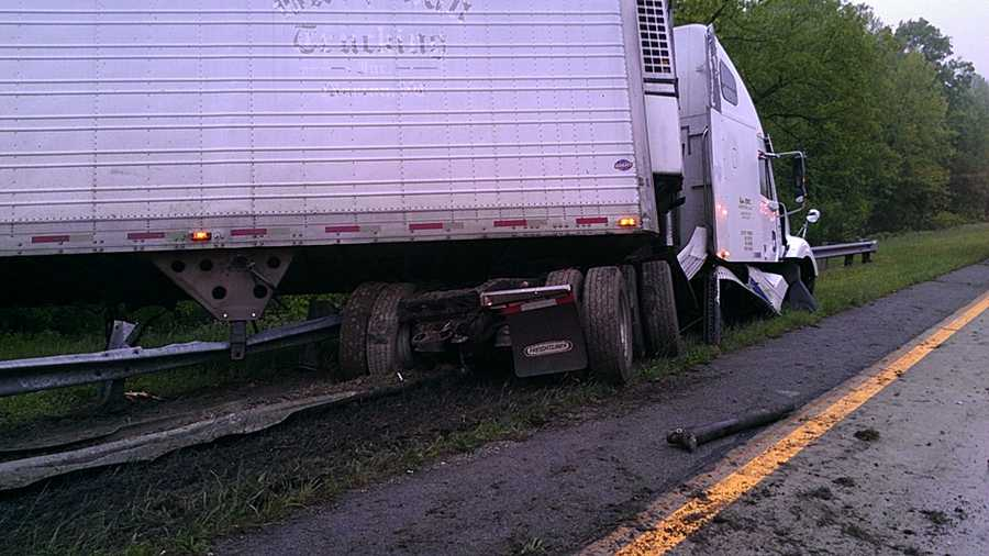 A tractor-trailer jack-knifed Monday morning on Interstate 85 in Jamestown. WXII's William Bottomley sent us these photos from the scene.