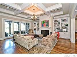 Family Room with coffered ceiling