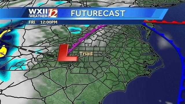 Let's check the futurecast images at hourly intervals, starting at noon Friday.