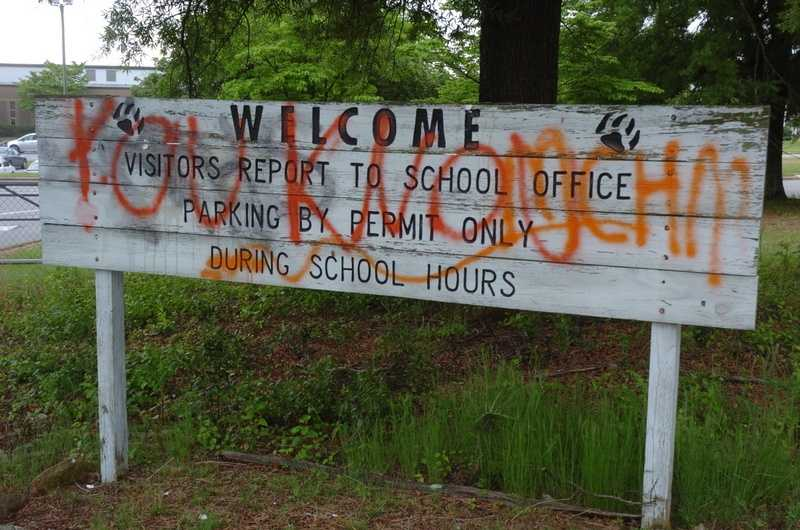 The welcome sign was among many objects found tagged with graffiti at Rockingham Middle School Wednesday morning.