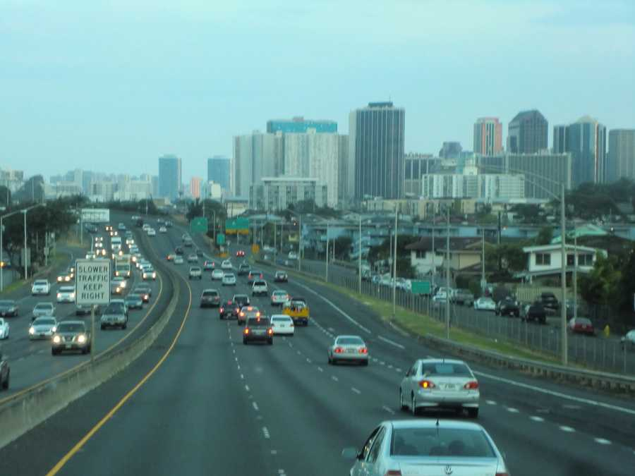 Traffic seems a little busy but everyone is happy to be Hawaii!