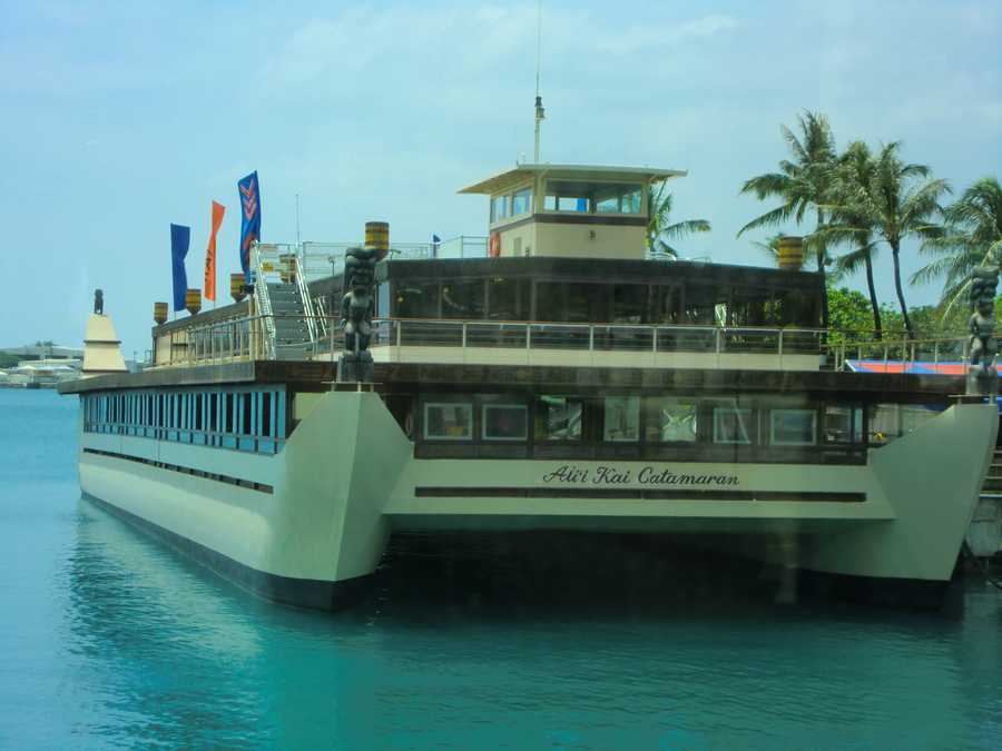 """Aui Kai Catamaran makes a great party boat, but Austin wasn't allowed permission to fish off this """"serious pontoon boat,"""" as he called it."""
