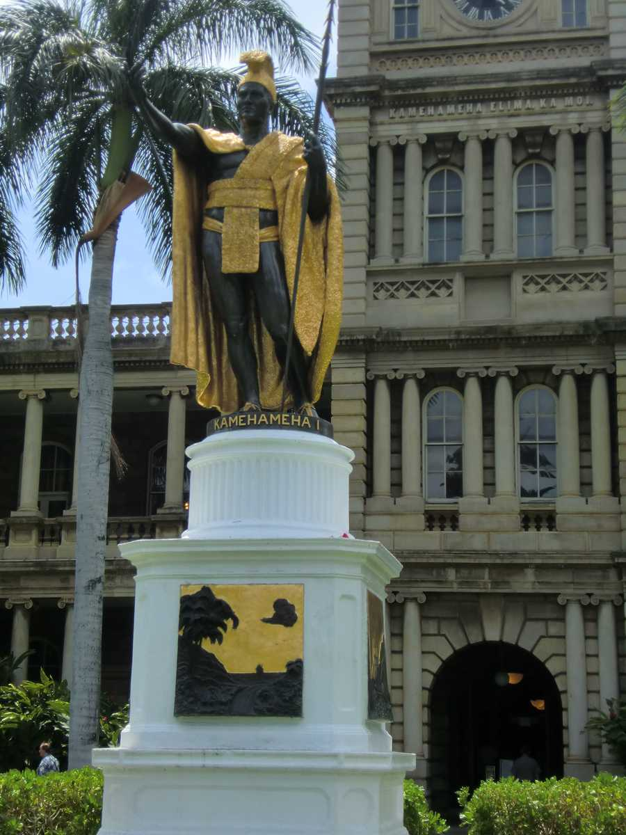The Kamehameha I sculpture is an over-sized painted brass casting of King Kamehameha I.