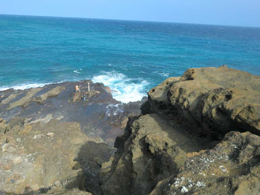 In the center of this photo is the beginnings of the famous blowhole at Halona Cove Beach. Tourists sometimes get really close to it.