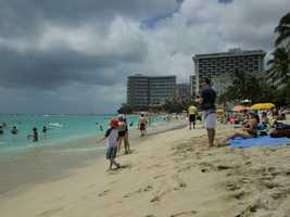 Waikiki Beach with it's beautiful aqua waters are so inviting.
