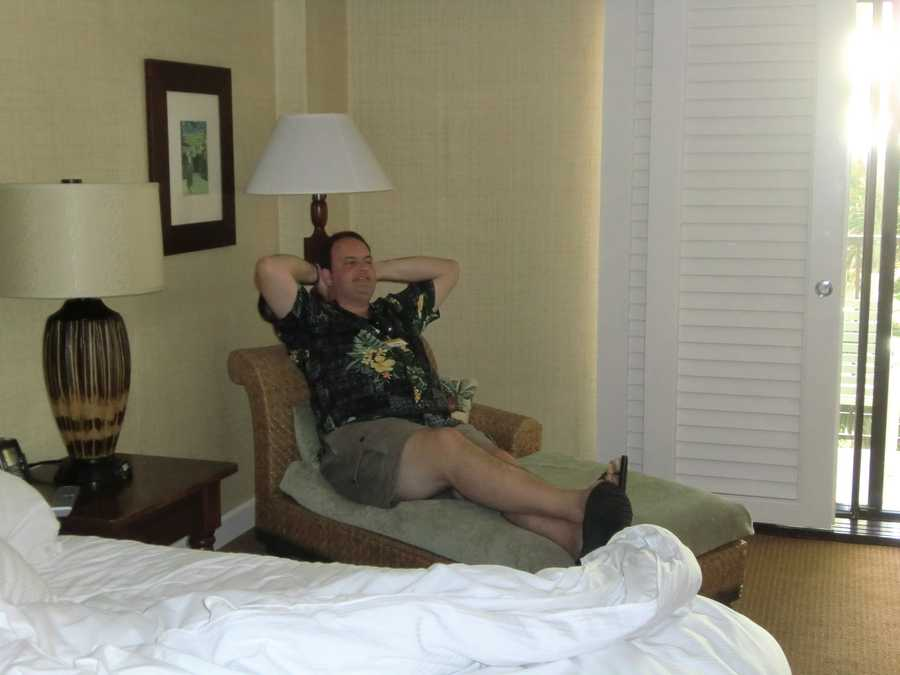Austin chilling in his room before another big day in Maui with the tour group from the Triad.