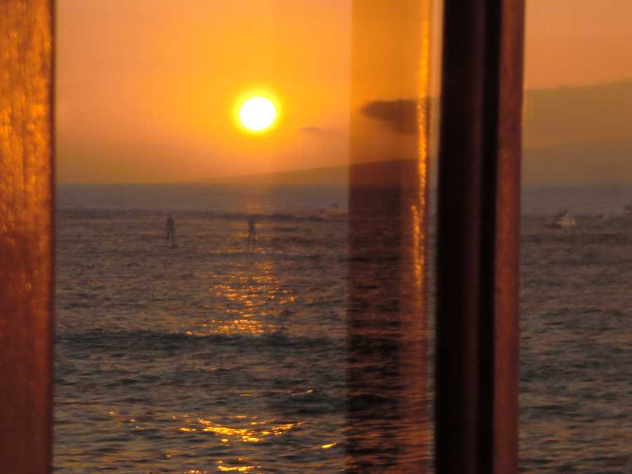 Here's a cool use of the glass window to capture the events going on in the water. There are many sports to enjoy in the ocean.