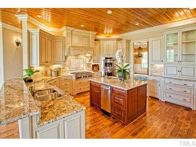 Gourmet Kitchen with cypress tongue and groove ceiling